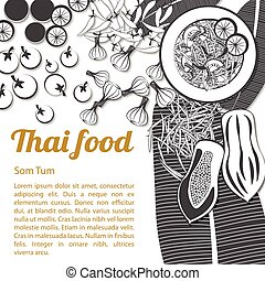 Isolated Thai Food Menu Som Tum