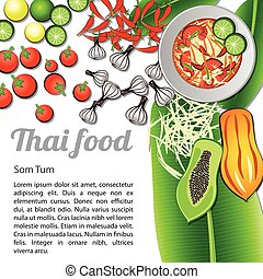 Isolated Thai Food Menu Som Tum
