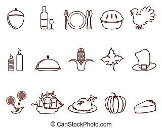 thanksgiving outline icons set