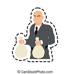 Isolated thief cartoon with money bag design