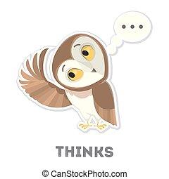 Isolated thinking owl.