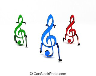 three dimensional colored musical notes - isolated three ...
