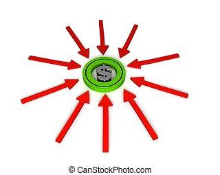 three dimensional dollar sign on arrows - isolated three...