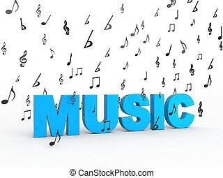 three dimensional music word with flying musical notes -...