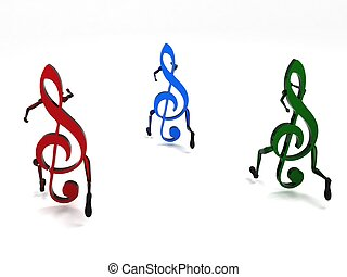 three dimensional musical notes - isolated three dimensional...