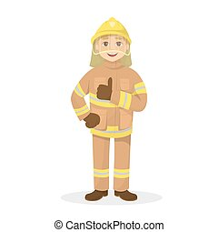 Isolated thumb up fireman.
