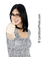 Isolated Thumbs-up Winking 30's Woman