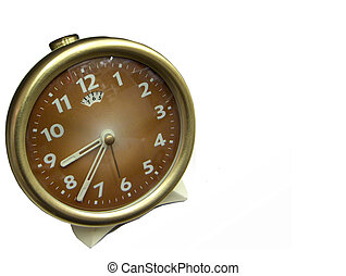 isolated time - old alarm clock isolated