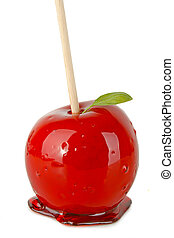 toffee apple isolated on white