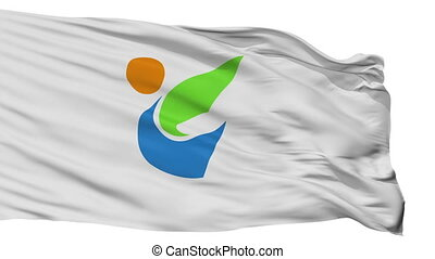 Isolated Tome city flag, prefecture Miyagi, Japan - Tome...