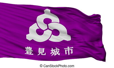 Isolated Tomigusuku city flag, prefecture Okinawa, Japan -...
