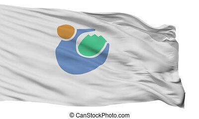 Isolated Tomioka city flag, prefecture Gunma, Japan -...