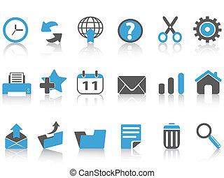 toolbar icons set, blue series