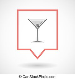 Isolated tooltip line art icon with a cocktail glass