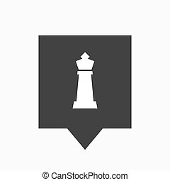 Isolated tooltip with a  king   chess figure