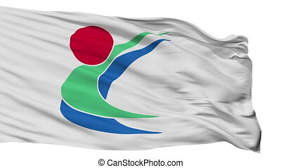Isolated Toon city flag, prefecture Ehime, Japan - Toon...