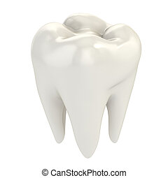 isolated tooth 3d illustration