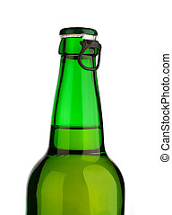 isolated top of green bottle