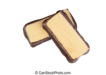 isolated top view of waffle and chocolate wafers