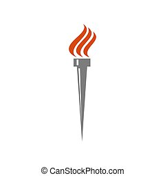 Isolated torch logo or icon, mockup design element for victory winner