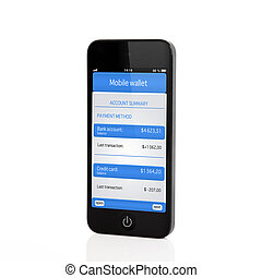 Isolated touch phone with mobile wallet and banking transaction on a screen