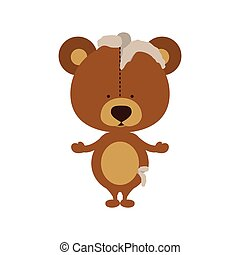 Isolated toy teddy bear damaged design