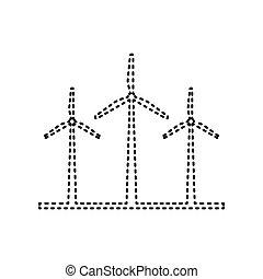 isolated., tracejado, sinal., turbinas, experiência., pretas, vector., branca, vento, ícone