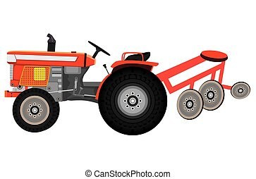 isolated tractor on white background vector design