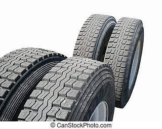 Tires - Isolated tractor Trailer Tires.