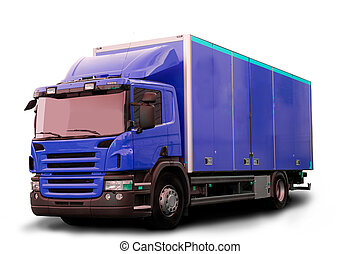 Isolated Tractor Truck - A blue tractor truck isolated on...