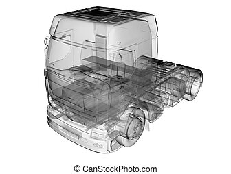 isolated transparent lorry truck