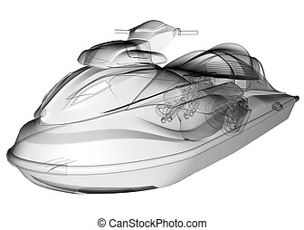 isolated transparent water scooter