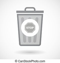 Isolated trash can icon with a stop signal