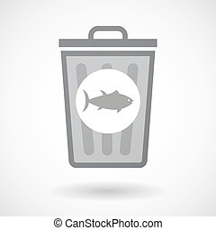 Isolated trash can icon with  a tuna fish
