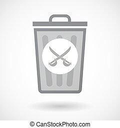 Isolated trash can icon with  two swords crossed