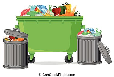 Isolated trash container on white background