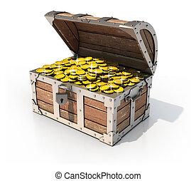 isolated treasure chest 3d illustration