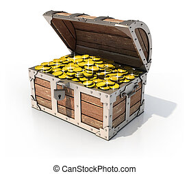 isolated treasure chest 3d illustration