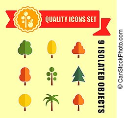 tree set nine icons with red tape