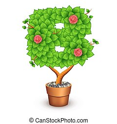 Isolated tree with flowers in clay pot. In the form of letter B