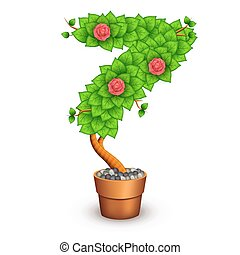 Isolated tree with flowers in clay pot. In the form of ...