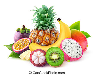 Isolated tropical fruits
