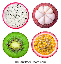Isolated tropical fruits slices. Pieces of dragonfruit, ...