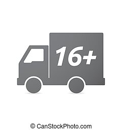 Isolated truck icon with the text 16+ - Illustration of an...