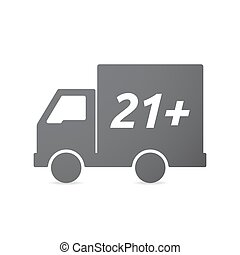Isolated truck icon with the text 21+ - Illustration of an...