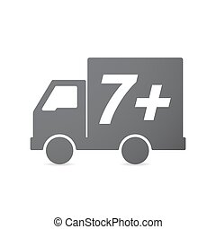 Isolated truck icon with the text 7+ - Illustration of an...