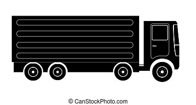Isolated truck silhouette - Isolated silhouette of a truck,...