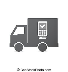 Isolated truck with a dataphone icon