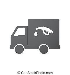 Isolated truck with a gas hose icon