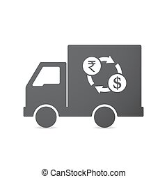 Isolated truck with a rupee and dollar exchange sign